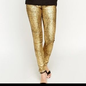 Gold Croc Print Pant Black Statement Skinny